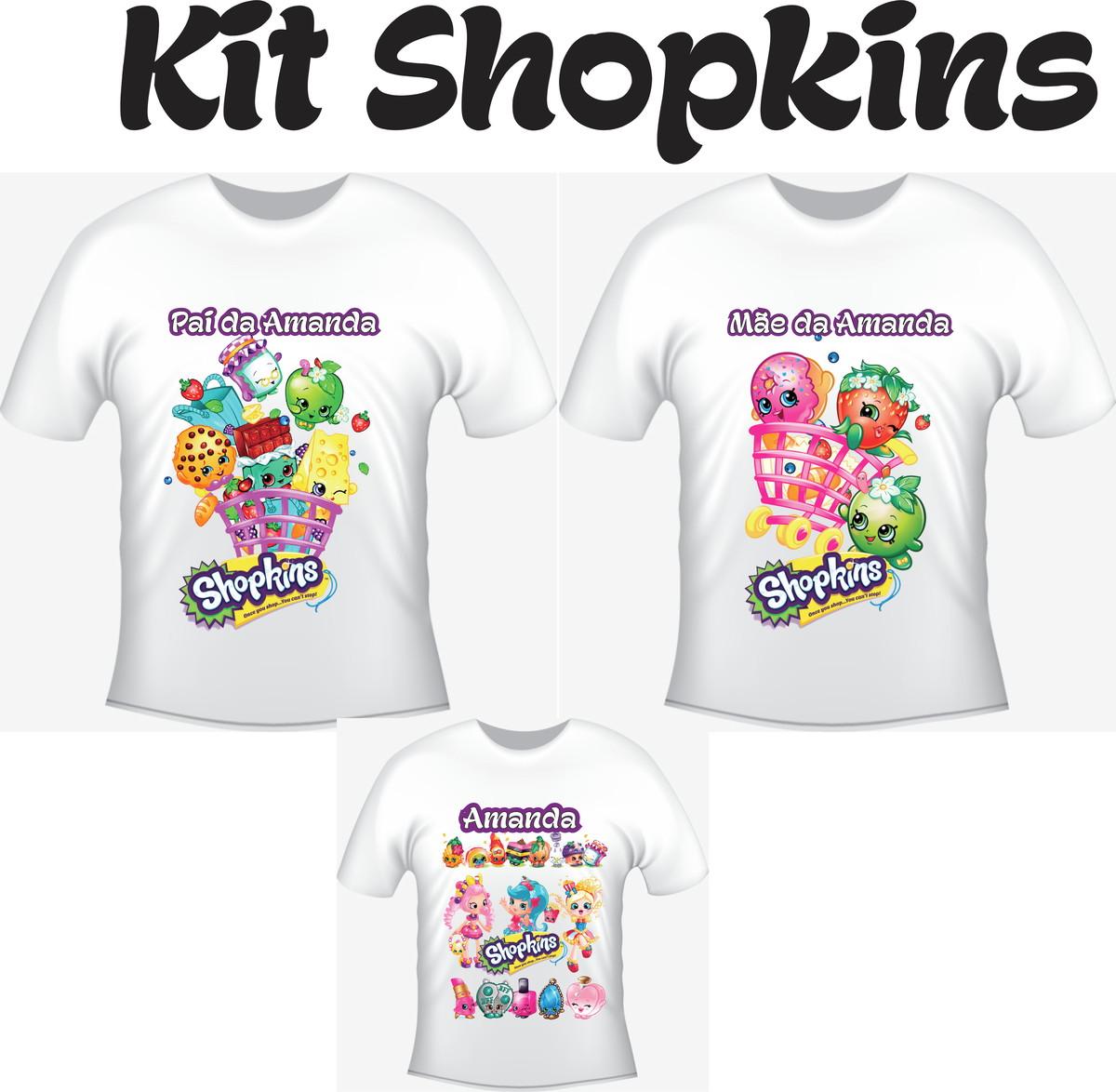 Camiseta Shopkins Kit  03 camisetas - Personalizada no Elo7  e8e9f8132cea0