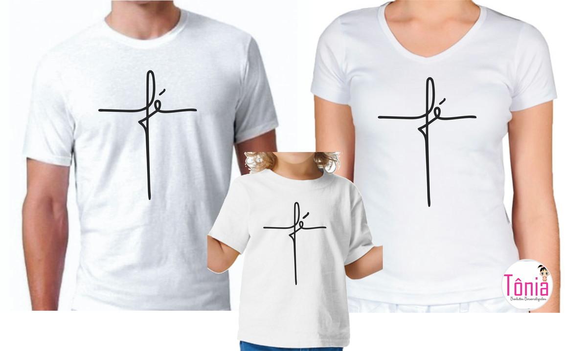 2634a15f9f Camisa personalizada Fé família 3 peças no Elo7