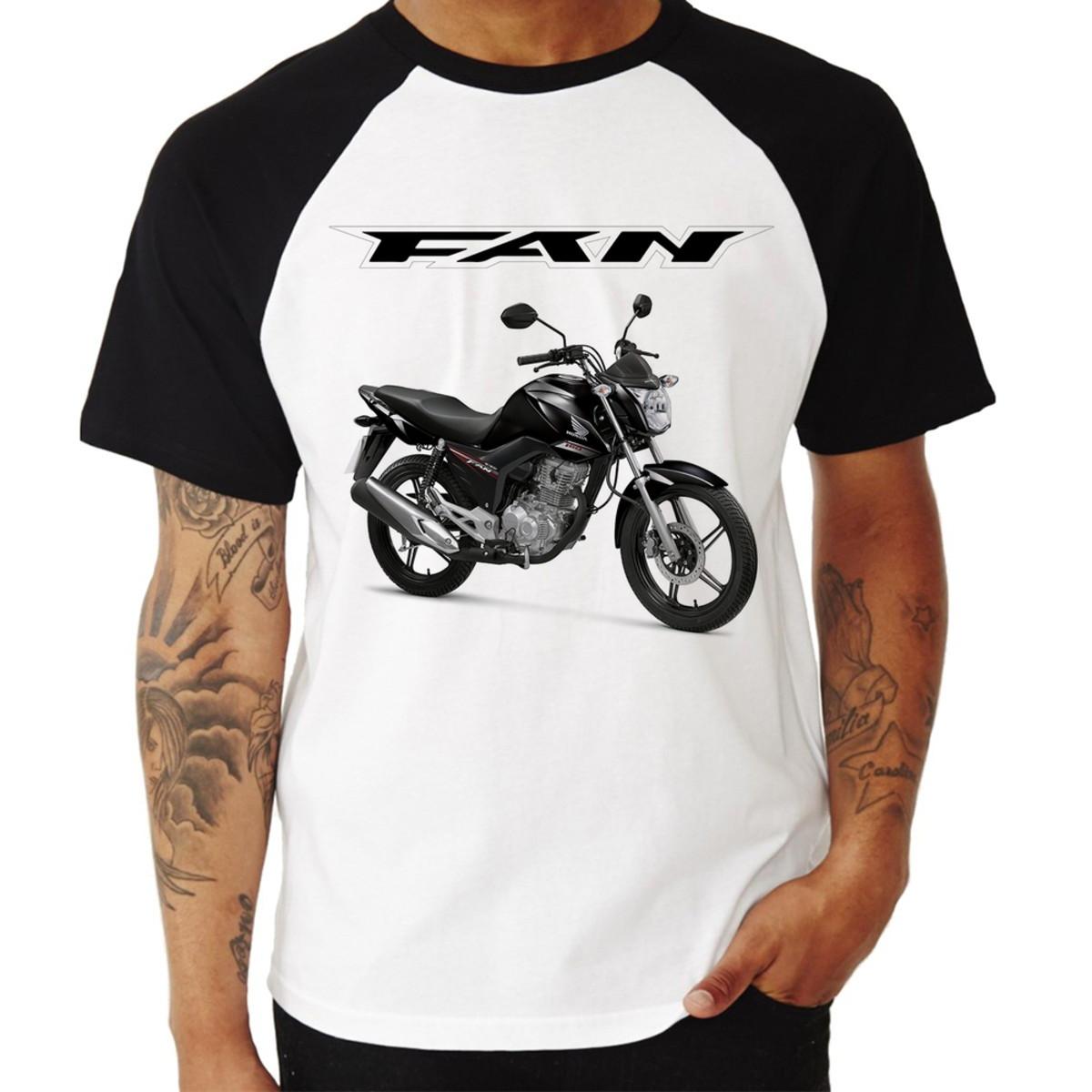 aa9300b38 Camiseta Raglan Moto Honda CG 160 Fan Preta no Elo7