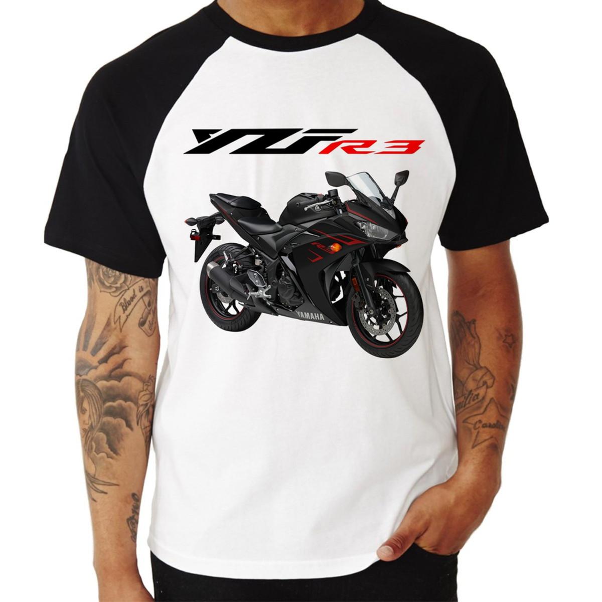 Camiseta Raglan Moto Yamaha YZF R3 Preta
