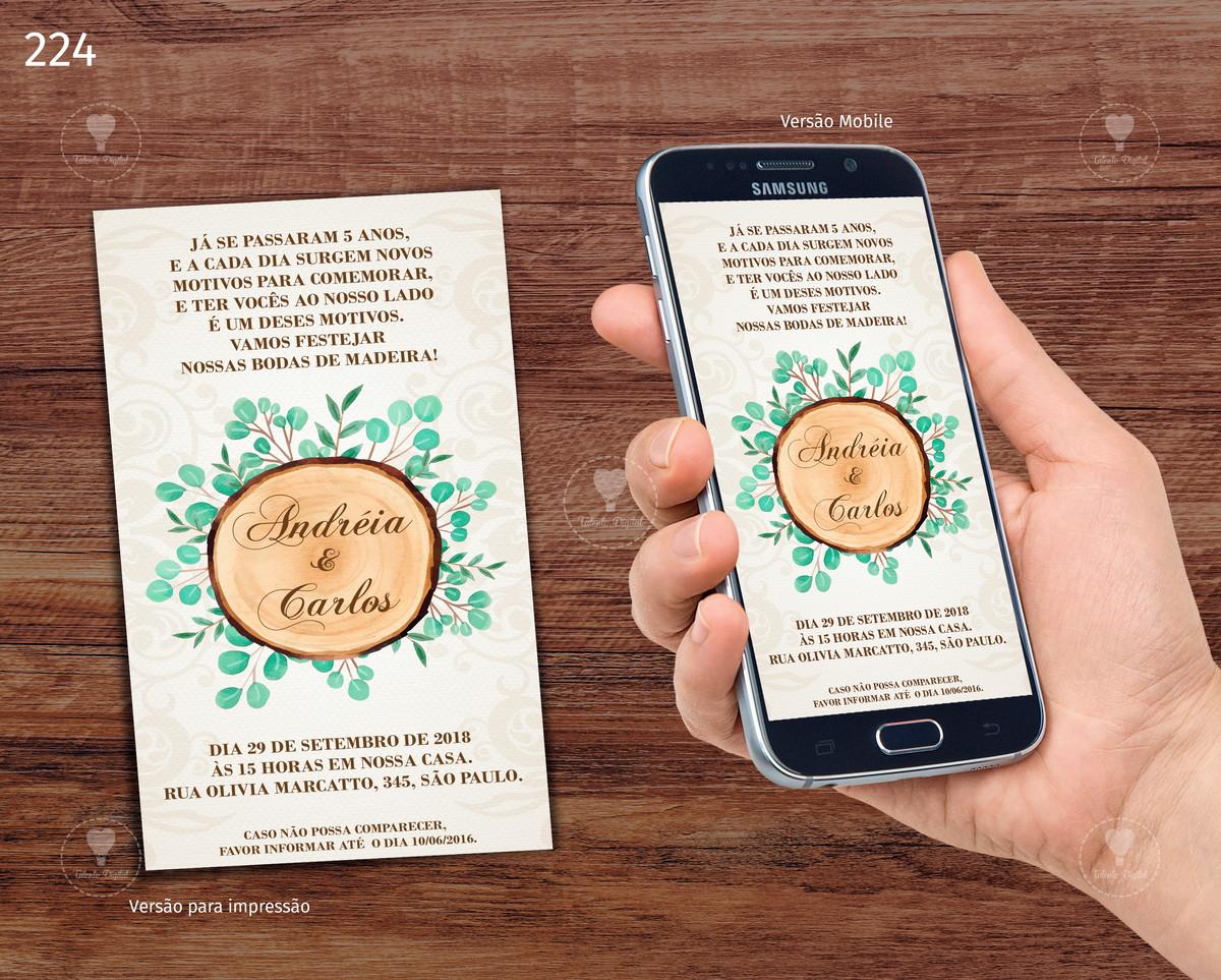 7f3970c854f Convite Bodas de Madeira -Digital Whatsapp no Elo7