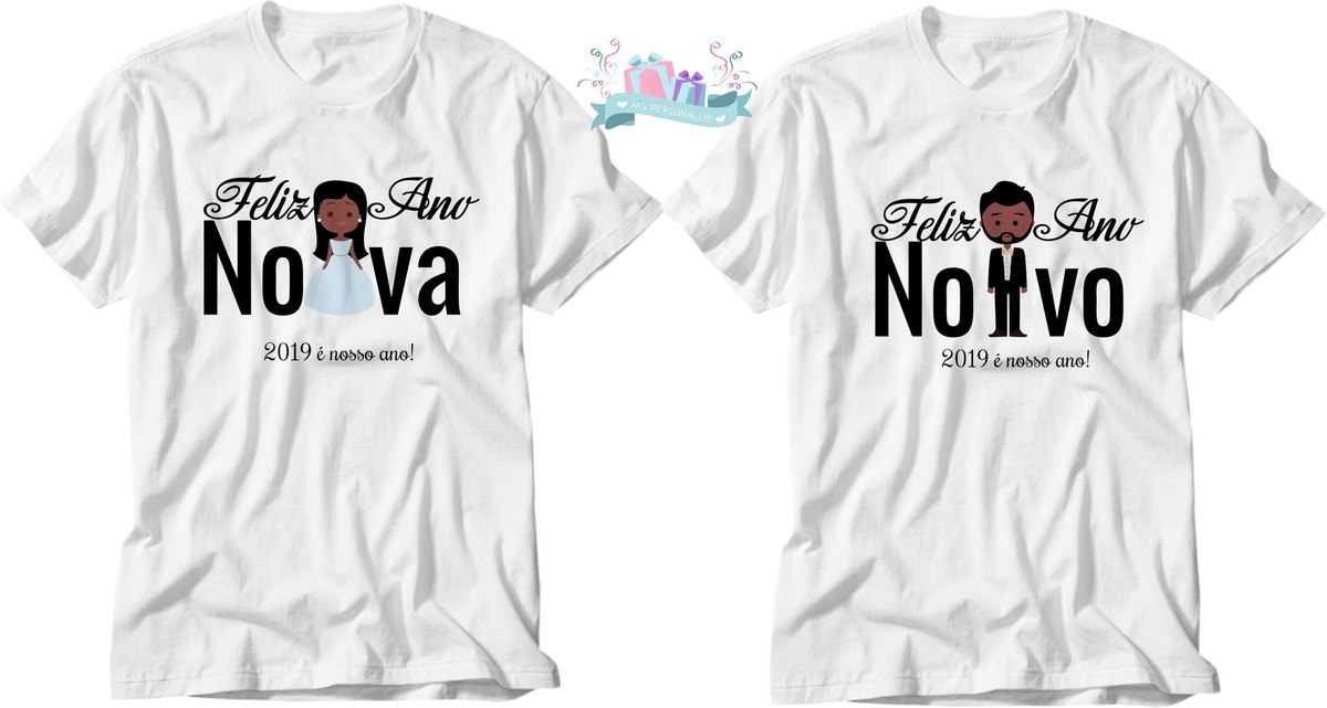617833ba73d3f camiseta feliz ano noivos (kit com 2 peças) no Elo7