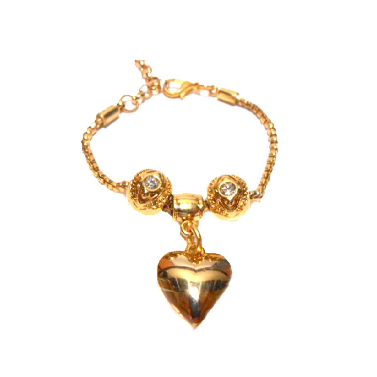 53332a27465 Pulseira Berloque Coração Dourado Semi Joia no Elo7