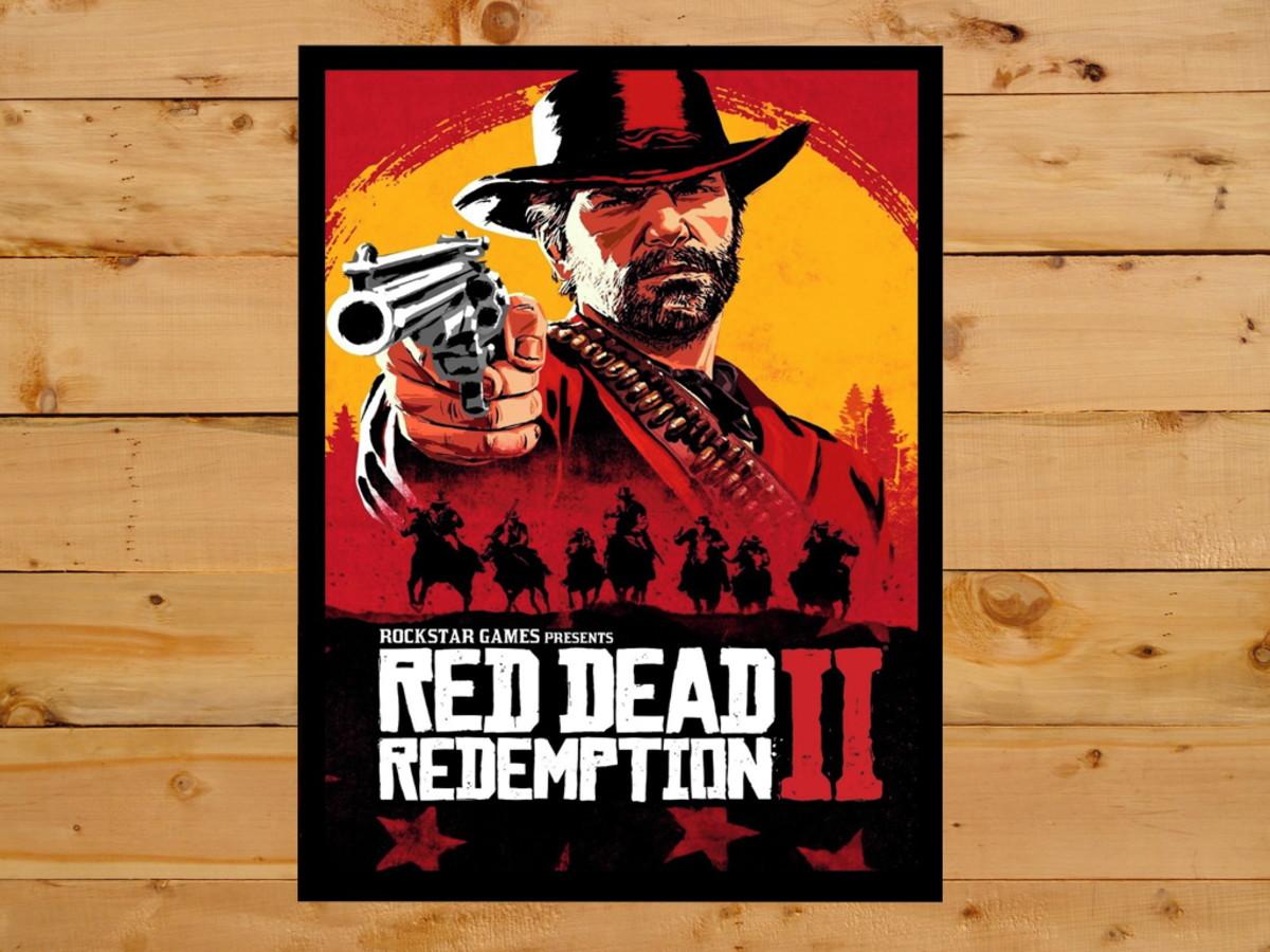 Quadro Decorativo Red Dead Redemption 2 Playstation 4 30x42
