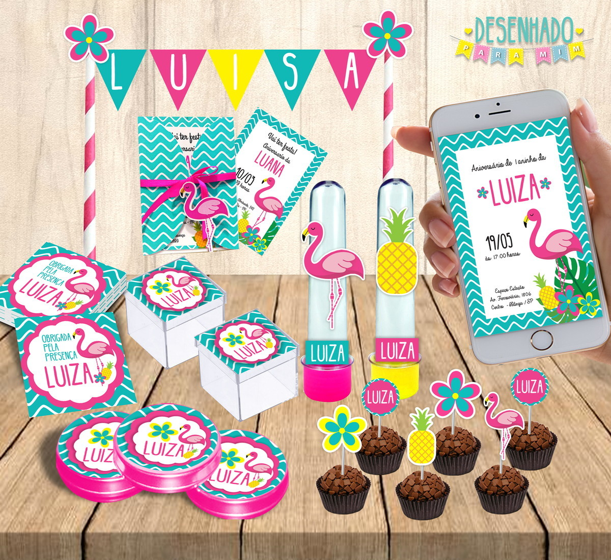 Kit Festa Flamingo No Elo7 Desenhado Para Mim Db5c3e