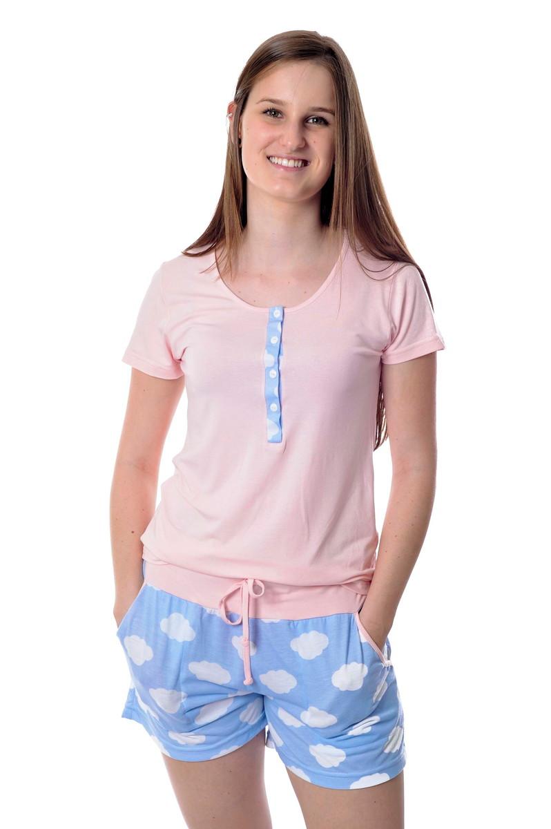 e6421745ce9321 Pijama de Amamentação Feminino Nuvens Curto com Shorts