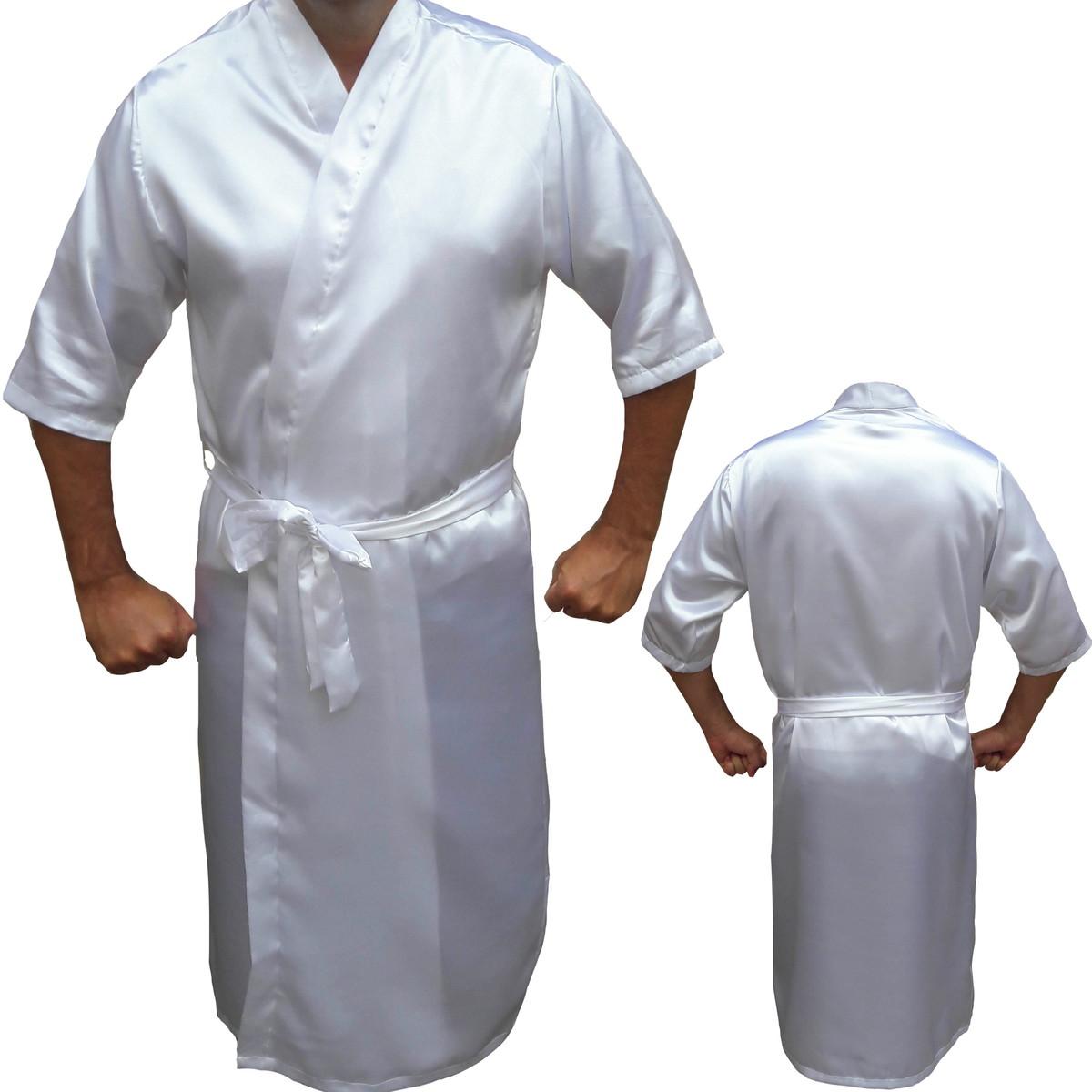 b21edf13c80fa9 Robe Cetim Roupão Masculino Manga 3/4 Noivo Casamento Branco