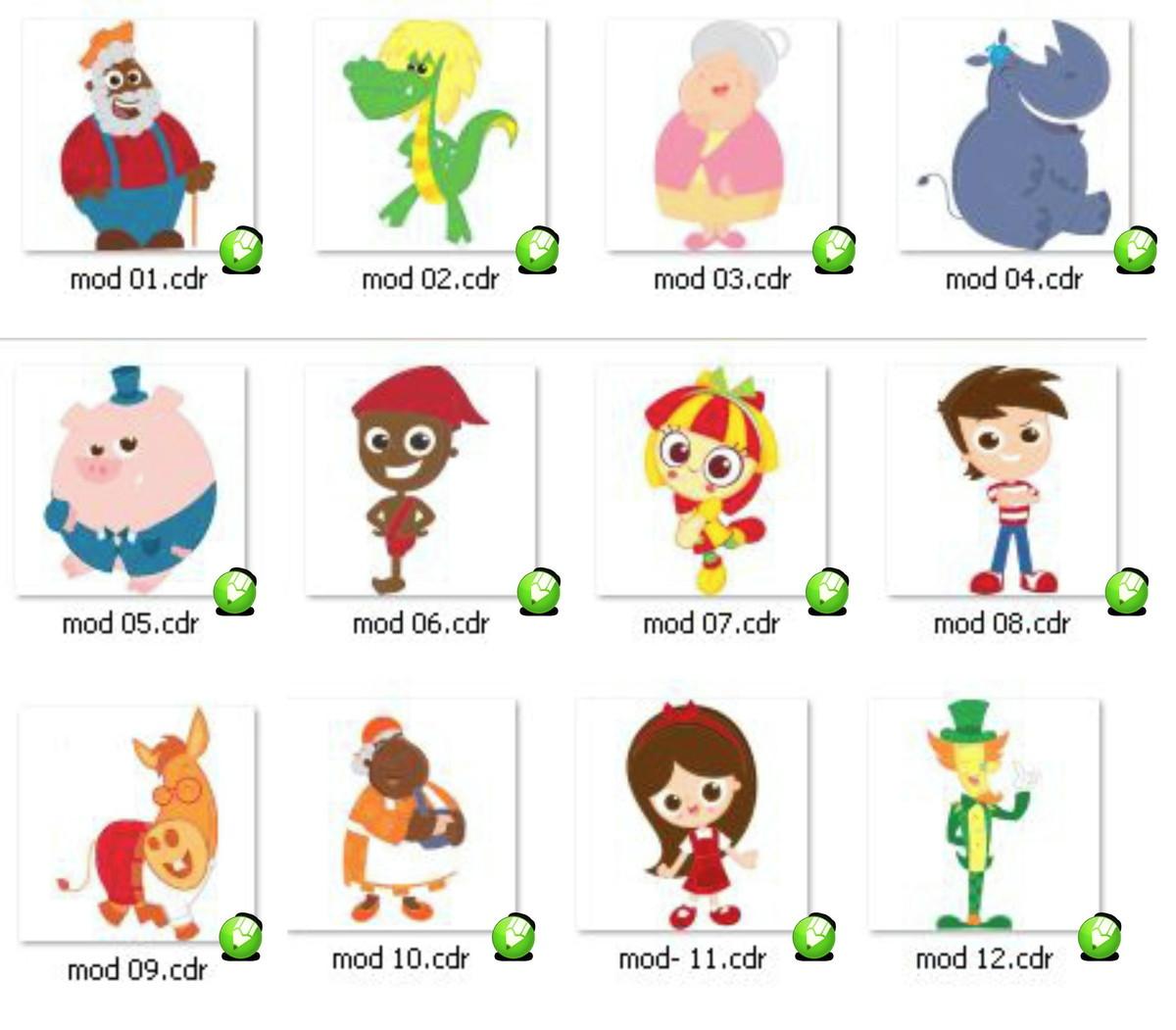 Kit Digital 12 Personag Sitio Pica Pau Amarelo Em Corel Draw No