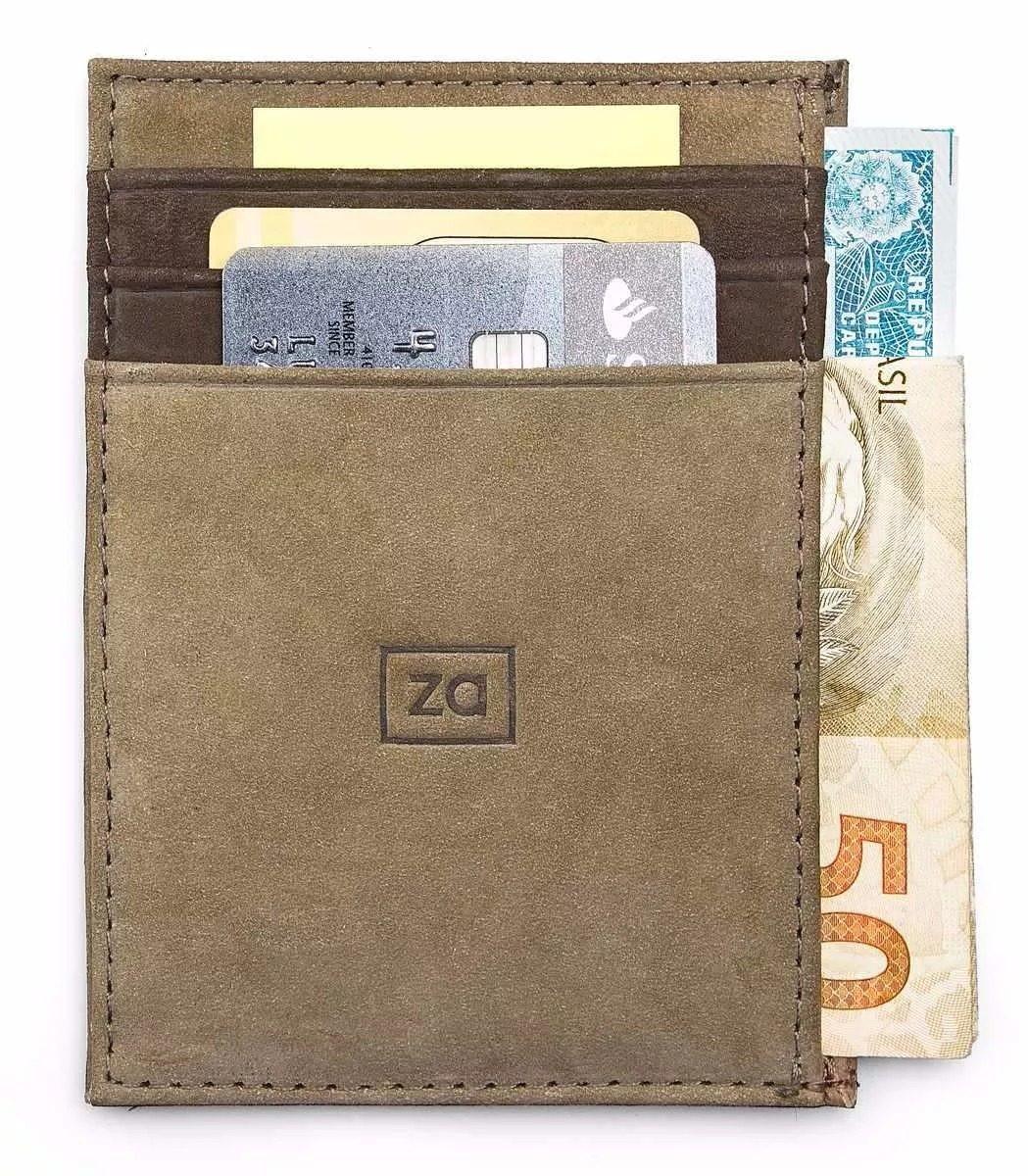 0c328f852f Carteira Porta Cartão Masculina Couro Slim Pequena Zalupe no Elo7 ...