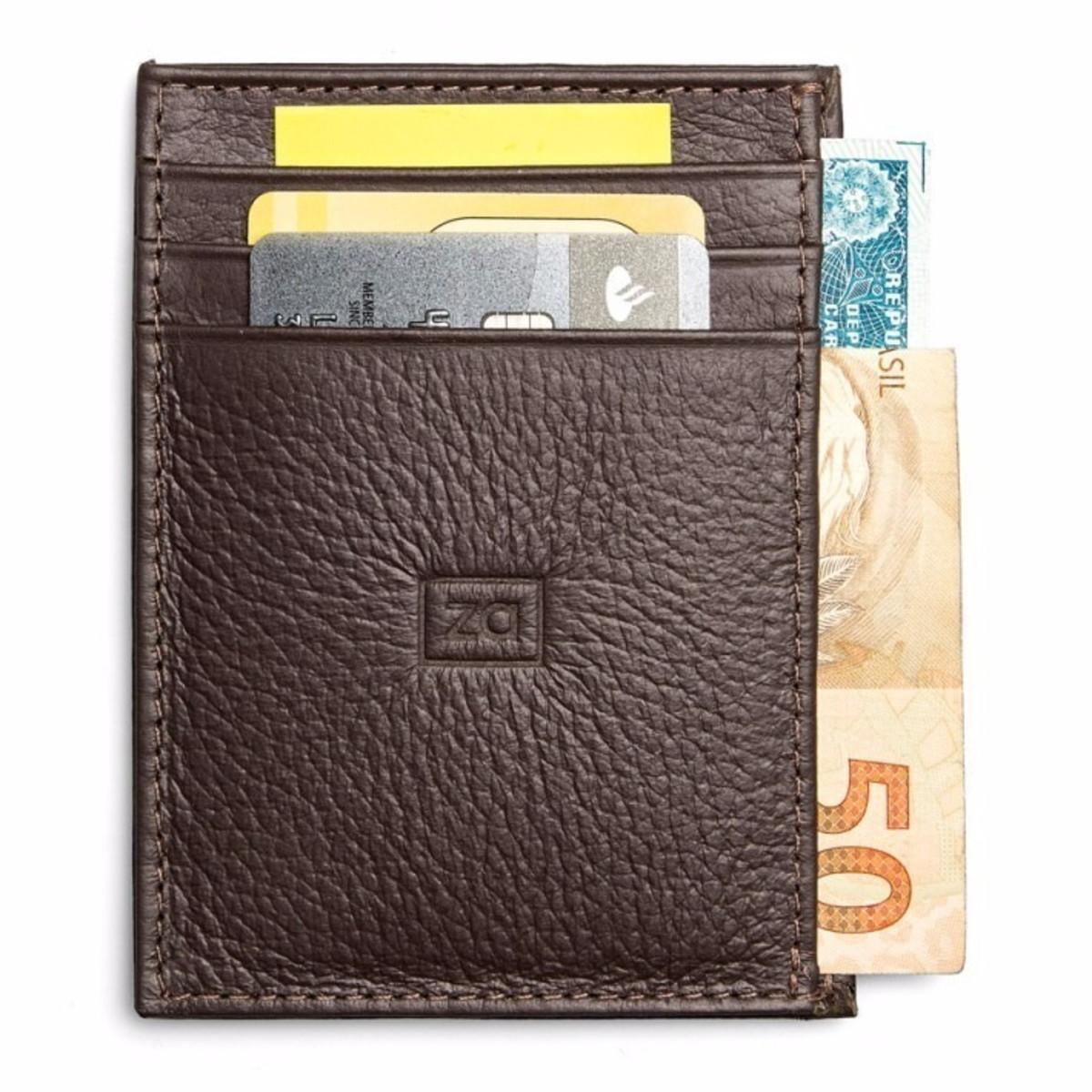 38e99eab23ded Porta Cartões Carteira Masculina Couro Slim Pequena Zalupe no Elo7 ...
