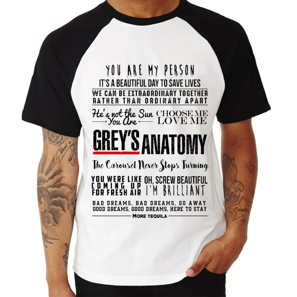 510b6093f Camiseta Raglan Grey s Anatomy Frases no Elo7