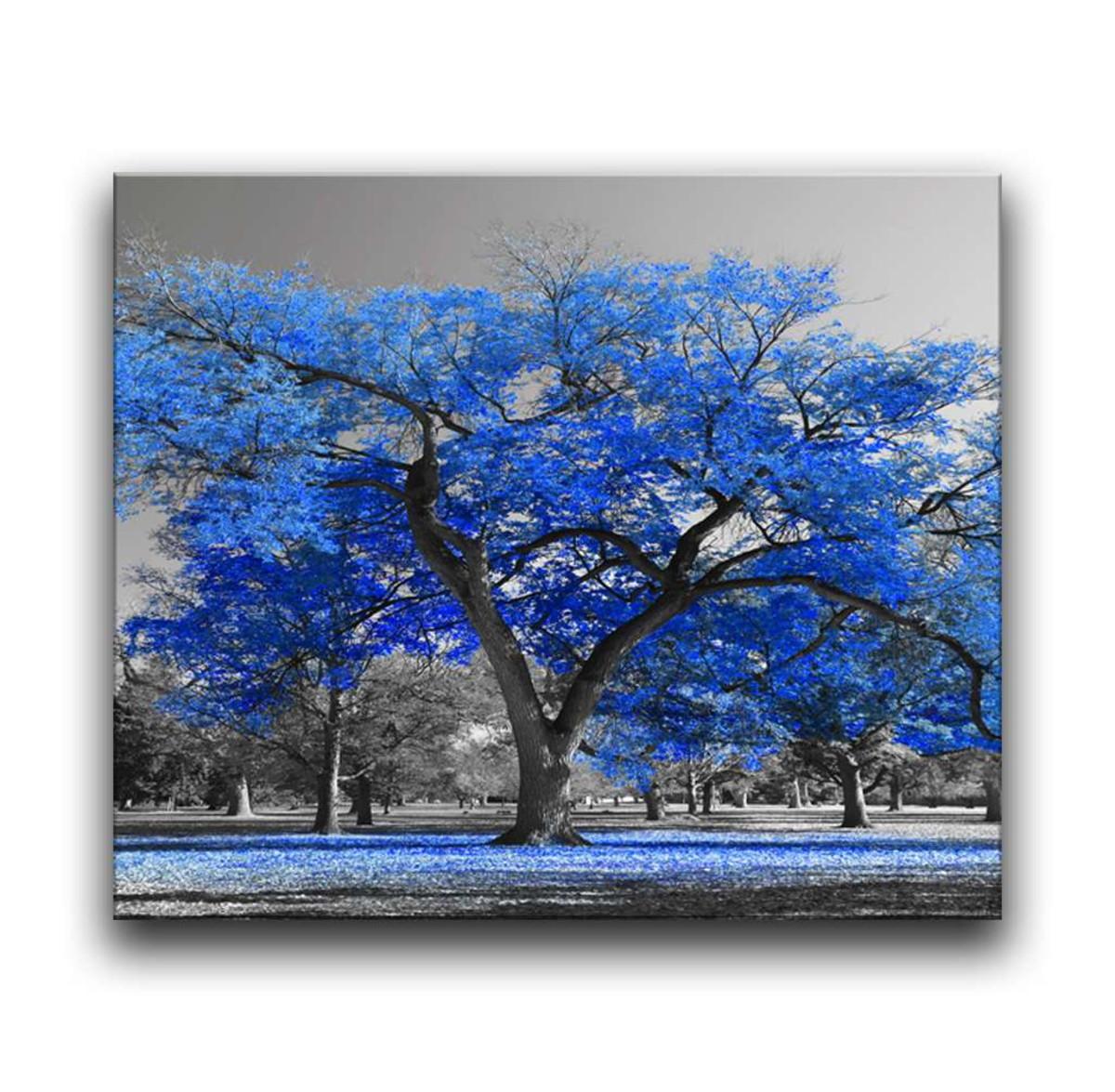 14ef8b3ba42cc Quadro Decorativo 95x80 Sala Quarto Árvore Grande Azul no Elo7