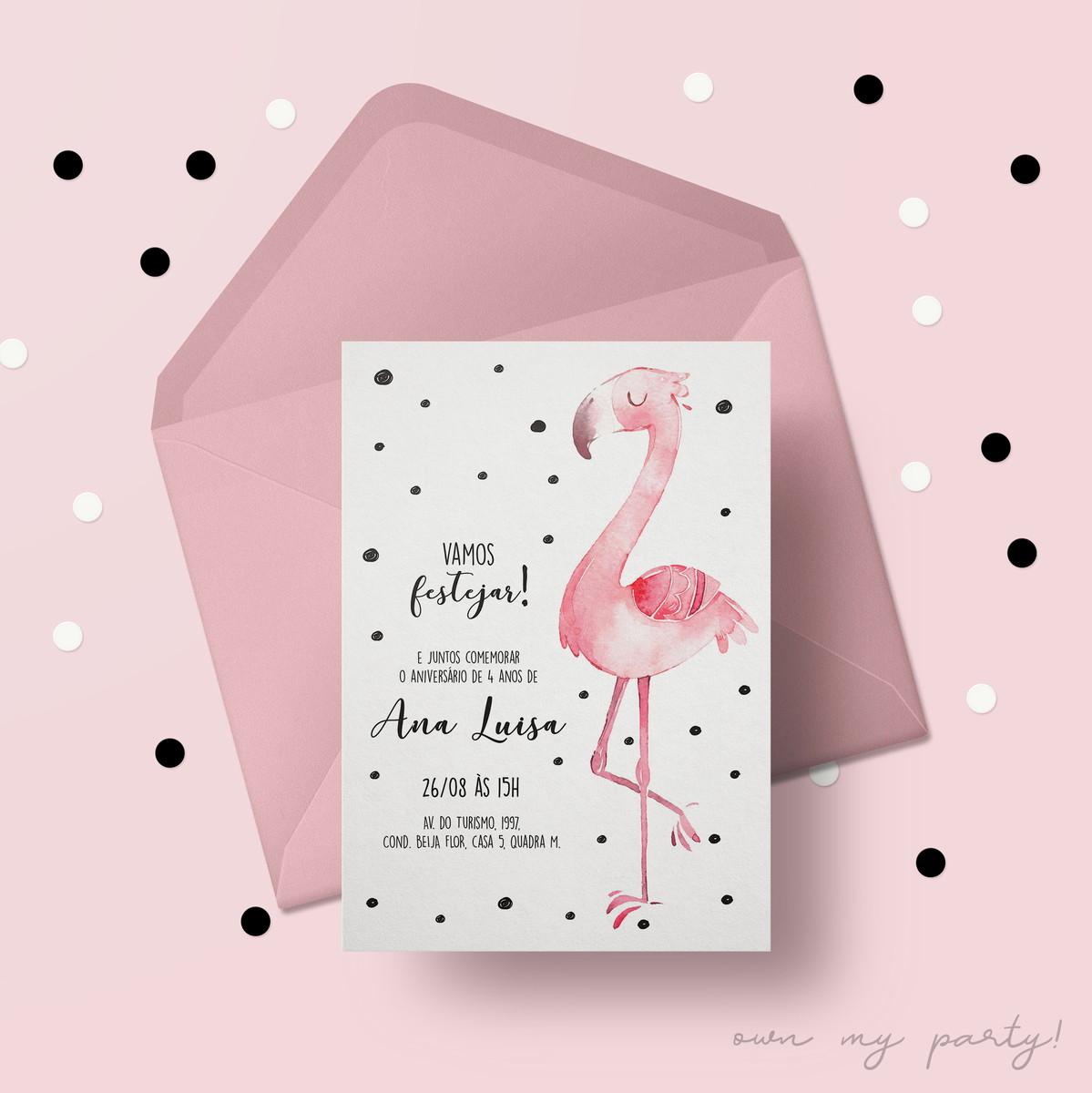 Convite Digital Flamingo Virtual Arte Para Imprimir