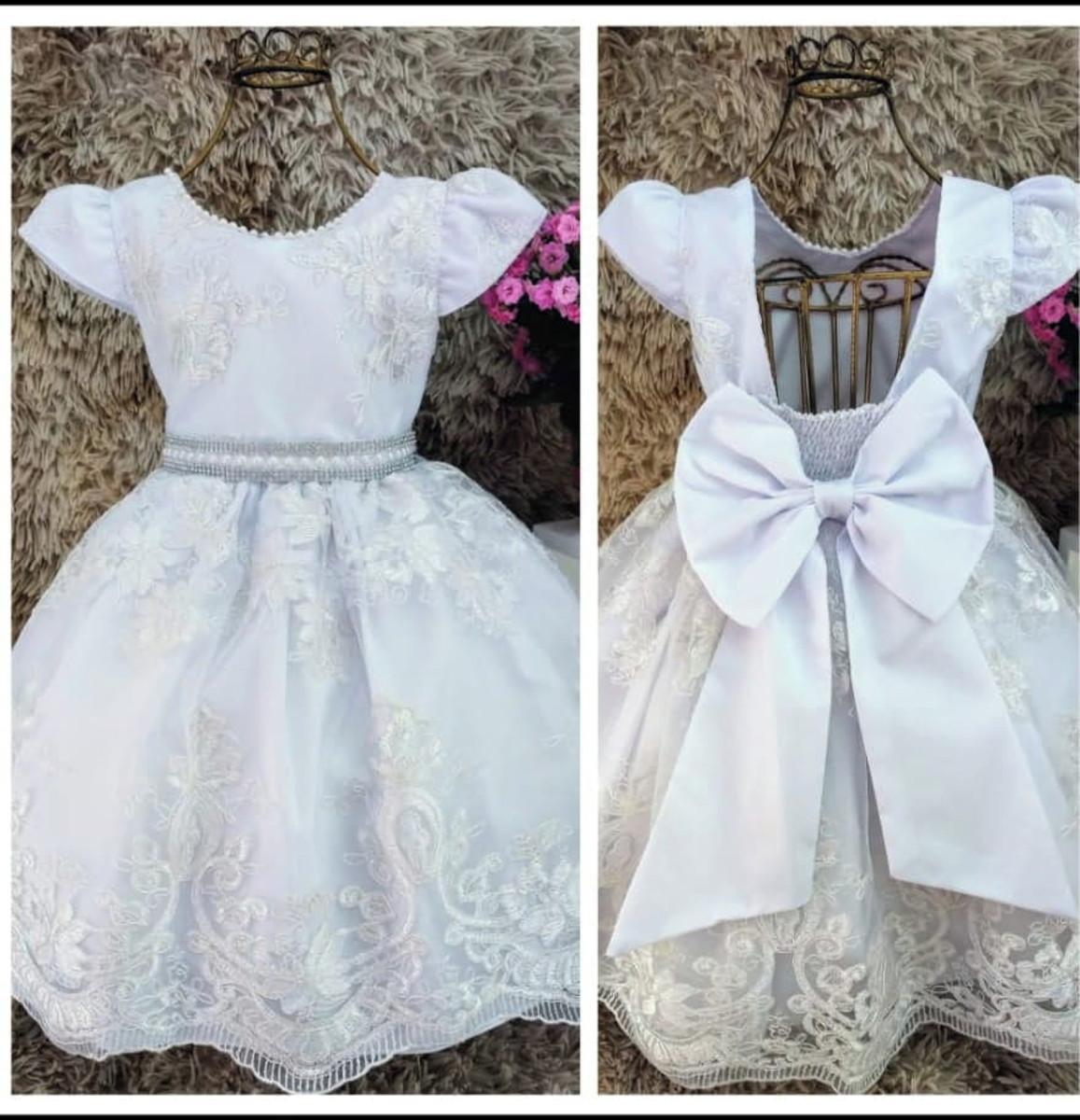 e9fb63eb6f Vestido Festa Realeza Luxo Branco Renda Daminha Noivinha no Elo7 ...