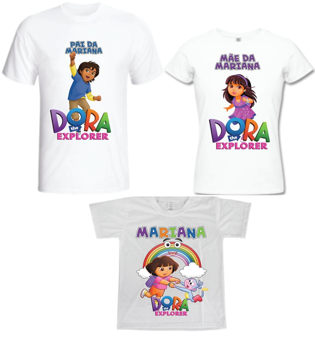Camiseta Dora Aventureira Kit com 03 - Personalizada no Elo7  4f8146d899db0