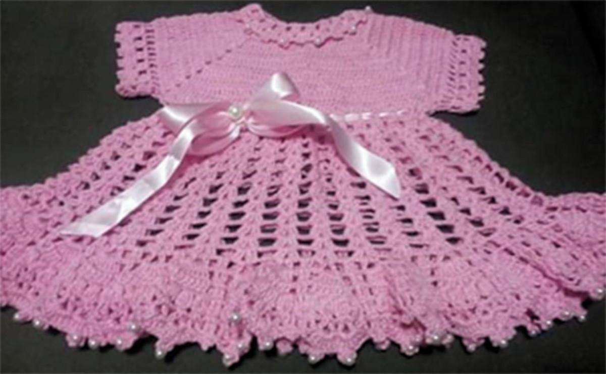 Vestido Em Crochê Para Bebês De 1 A 2 Anos
