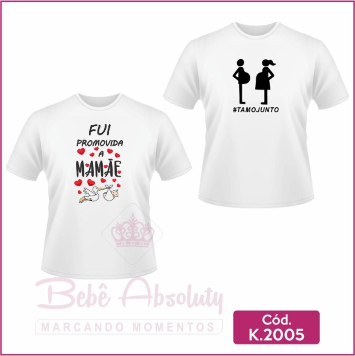 6326af9a12ce Camiseta Fui Promovida a Mamãe e #TamoJunto - Kit 2 peças no Elo7 ...