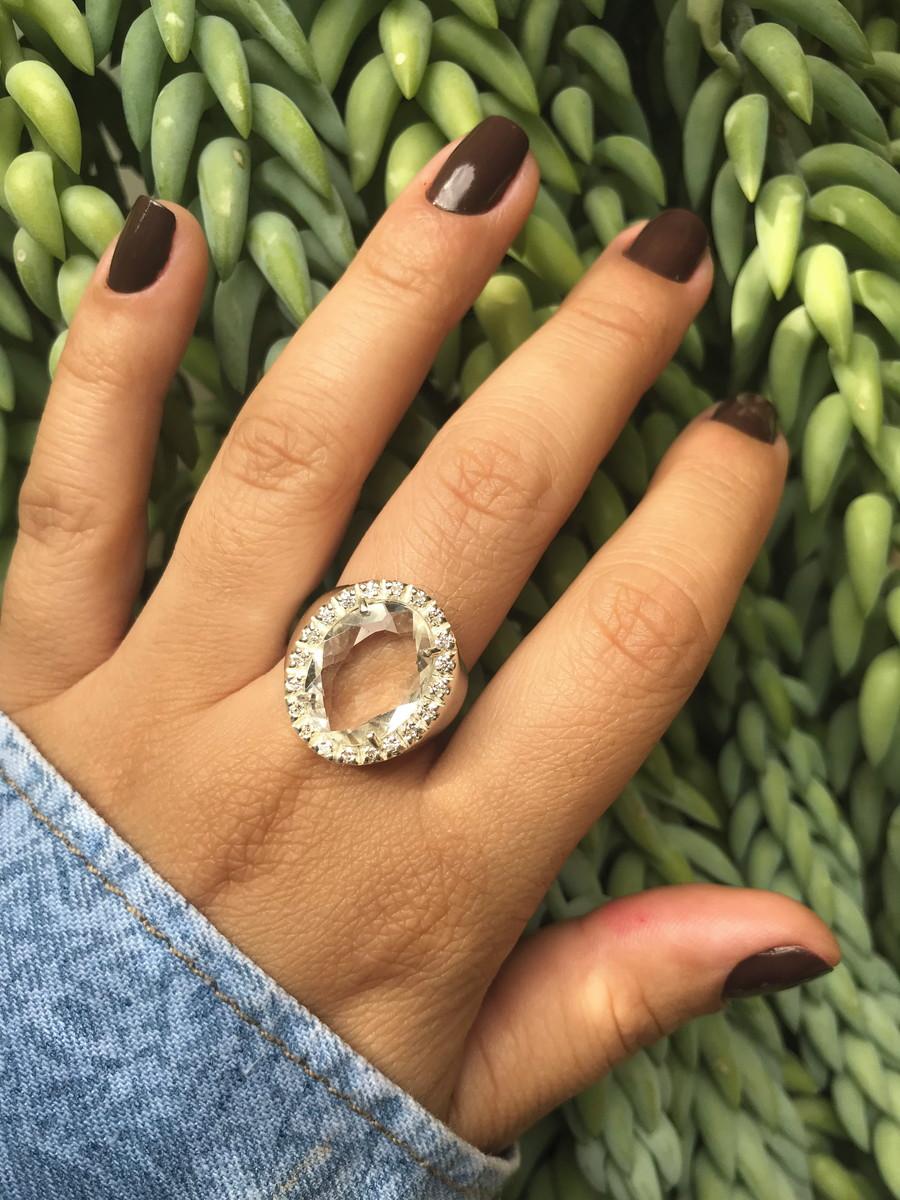 fee662da061aa anel prata feminino Com Pedra Cristal Zirconia Ref 009 no Elo7