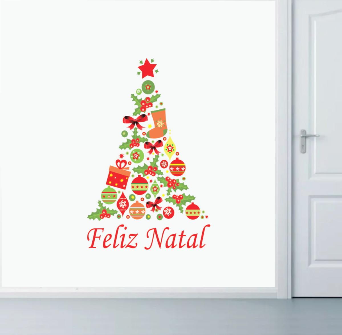 Adesivo Natalino Decoracao De Natal Arvore Feliz Natal No Elo7