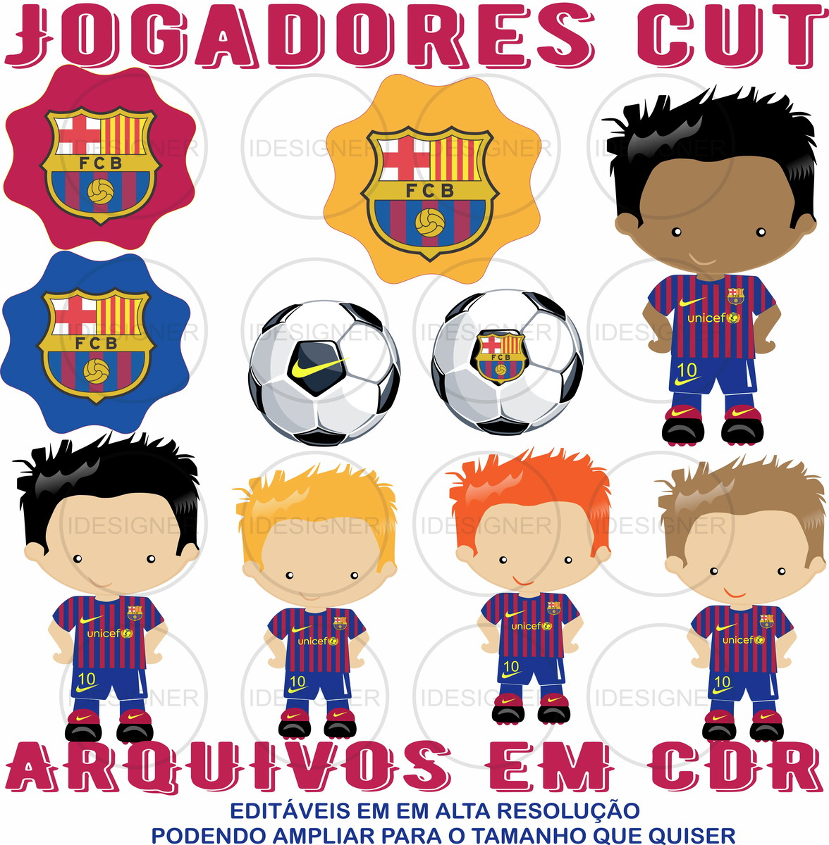Kit Digital Barcelona Cute ARQUIVOS EM CDR(COREL DRAW)EDITÁV no Elo7 ... 702c25721da82