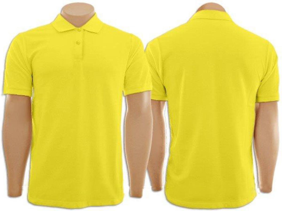 0723182550 Camiseta Gola Polo Masculina Amarelo no Elo7