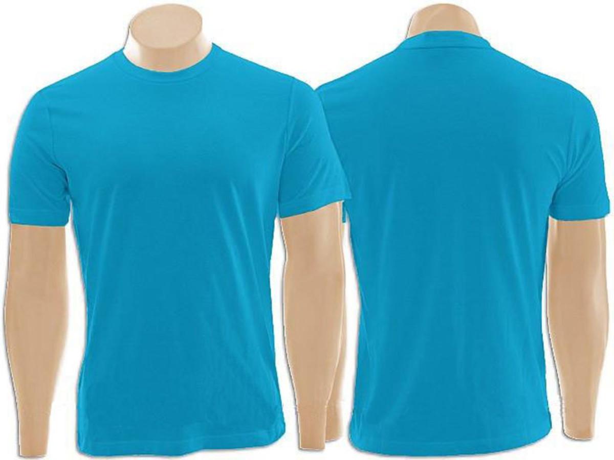 Camiseta 100% Algodão Azul Turquesa no Elo7 Inverse Artigos