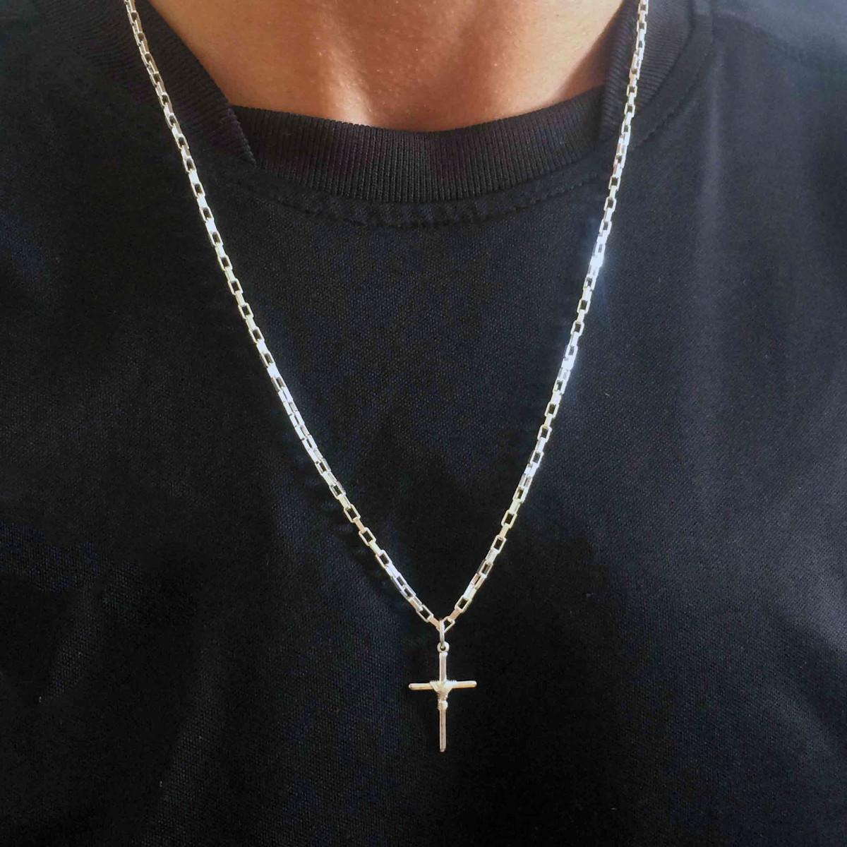 Corrente Masculina Prata Cartier 60 Cm com Crucifixo Manto no Elo7 ... 0623e95a22