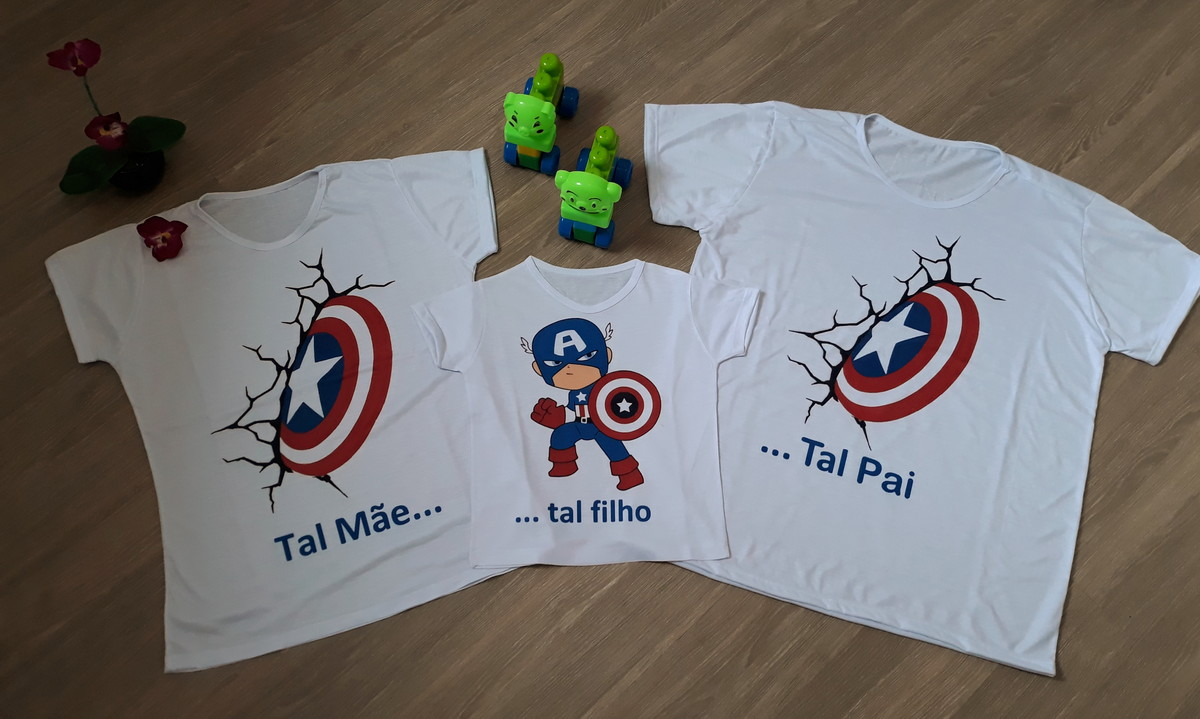 2e8c2b9d9ced88 Camiseta Família Tal Pai Tal Mãe Tal Filho - Capitão America