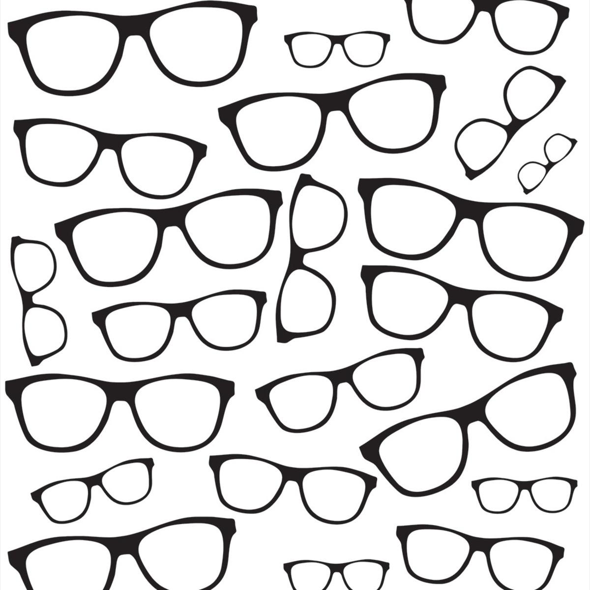 aacd80abd Papel de Parede Óculos Pretos Sobre Branco Vinil no Elo7 | B.SHOP ...
