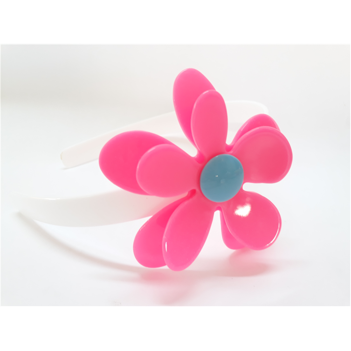Tiara De Acrílico Flor Rosa Neon Com Miolo Azul No Elo7 Malu