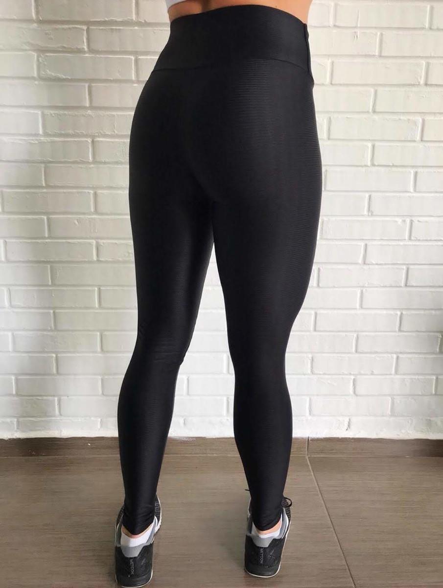 0c2867d83 Calça Legging Preta Cirre 3D Metalizada Feminina no Elo7