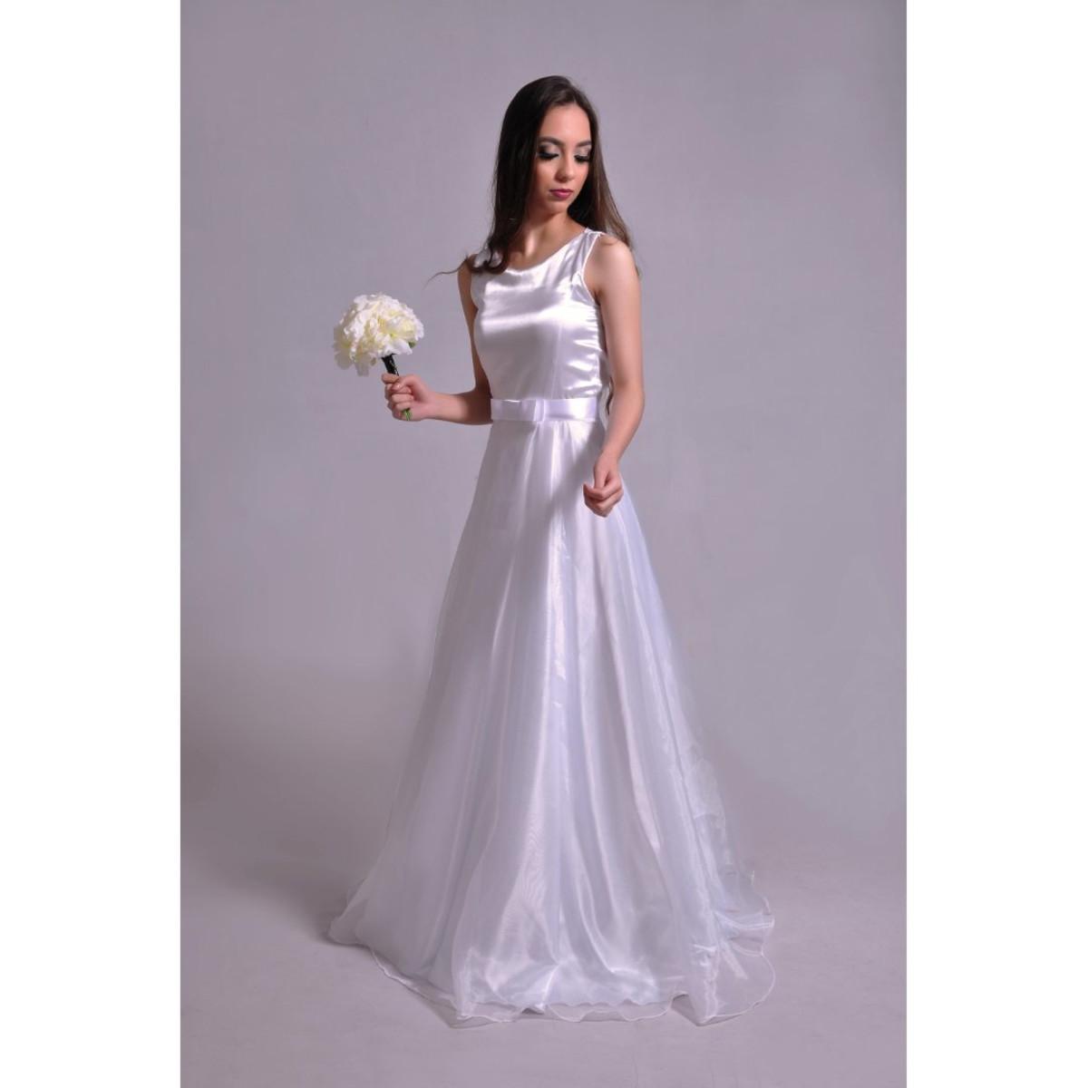 229986e74 Vestido de Noiva Godê Simples com Laço Channel Mirian Buss no Elo7 ...