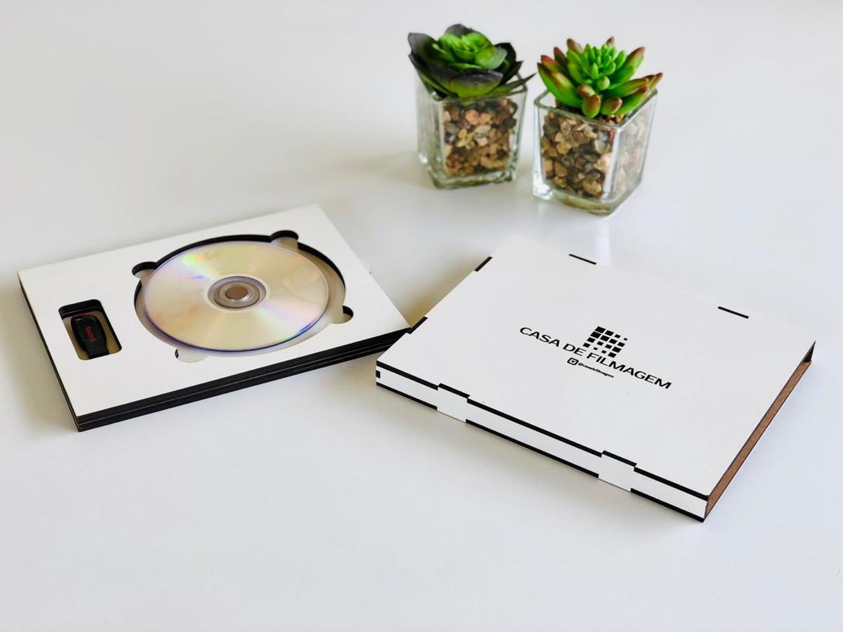Caixa mdf porta cd dvd e pen drive com logo para fotógrafo no elo