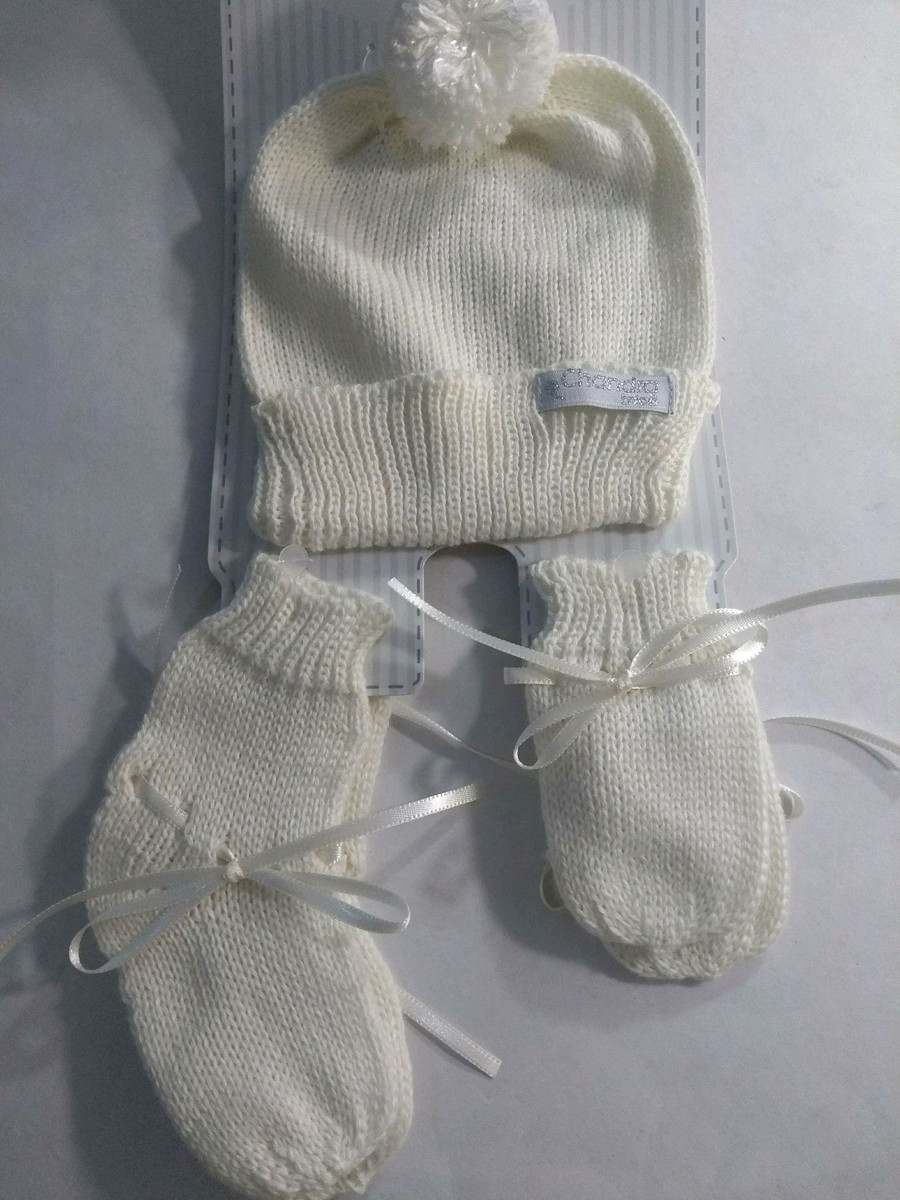kit touca +luva + sapatinho bebê linha off white marfim no Elo7 ... f5ee8c97a82