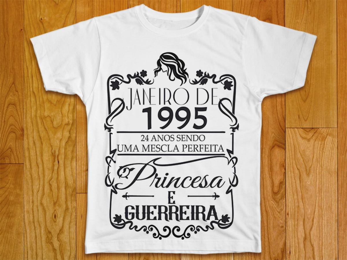 9c98a93553 Camiseta Feminina Princesa e Guerreira no Elo7