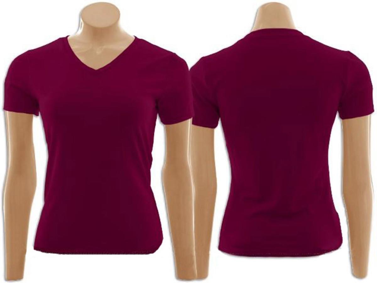 20eb562e987f2 Camiseta baby look Gola V 100% Algodão na Cor Vinho no Elo7 ...