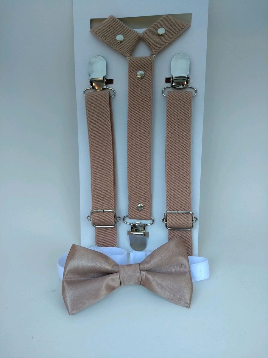 36dba18e08 Kit suspensório e gravata borboleta infantil bege no Elo7
