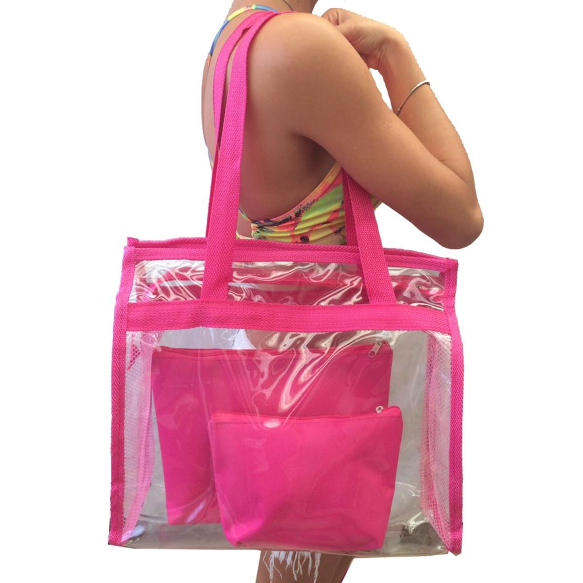 5052870f3 Bolsa de praia cristal transparente cor rosa promoção brinde no Elo7 ...