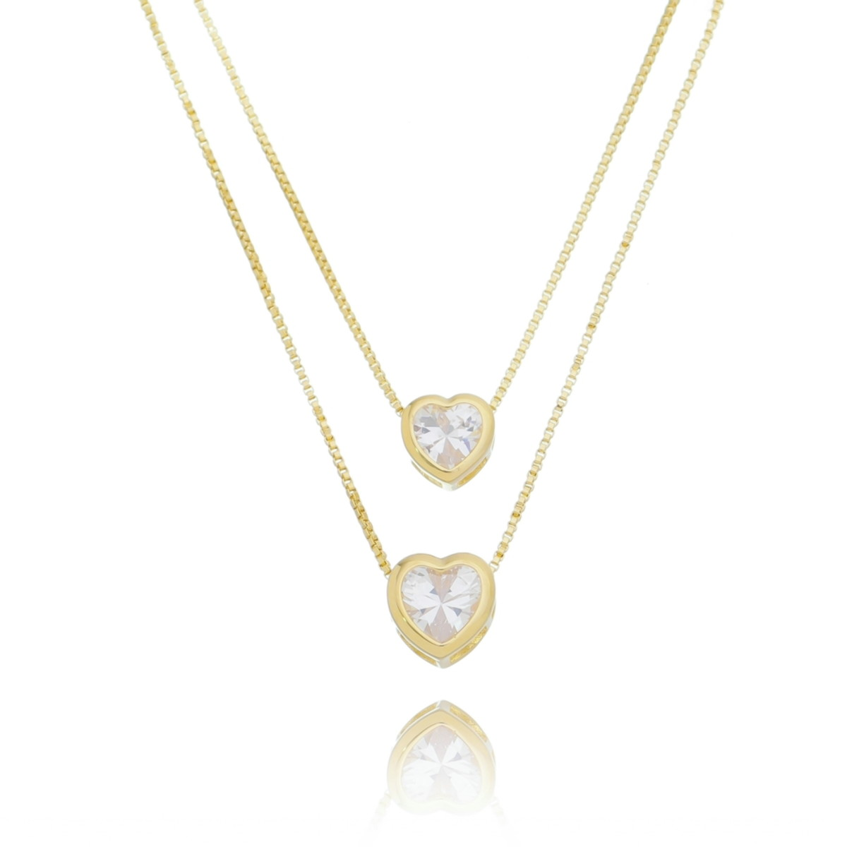 0405c9f296b5d Colar Duplo Coração Cristal Semi Joia no Elo7