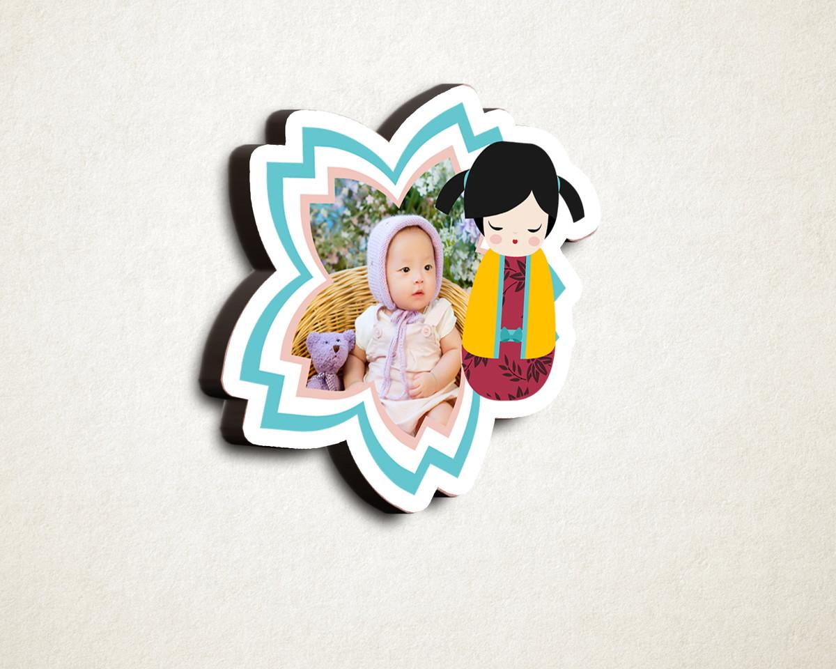 Aplique placa quadro- MDF e impressão foto kokeshi japonesa no Elo7 ... 3213eb5b85d16