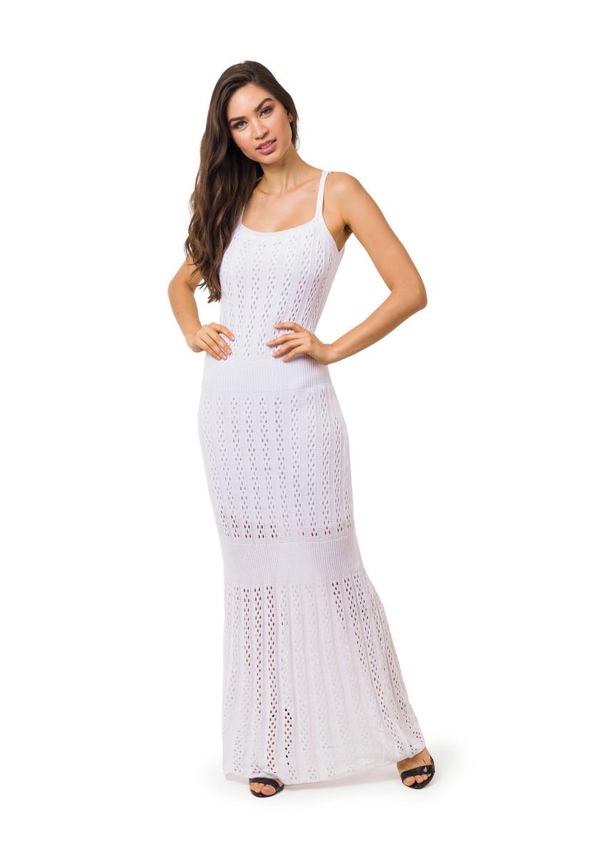 1364bca6cc Vestido Longo Tricot Tricô Sereia Branco Frete Grátis 5061 no Elo7 ...