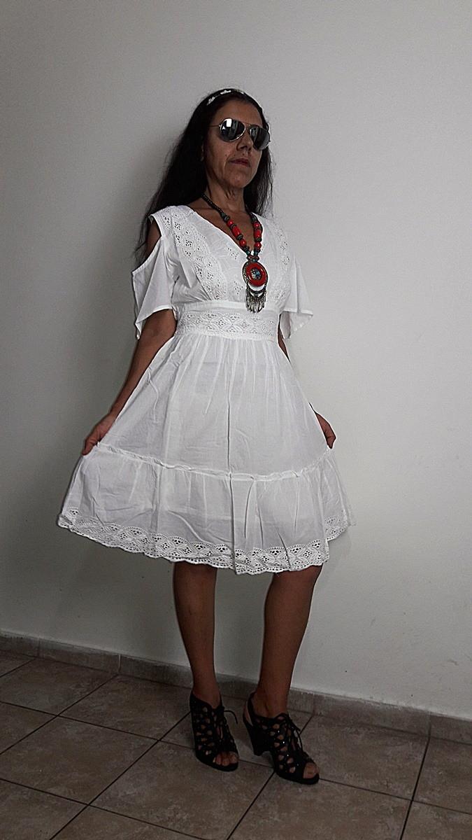 Vestido Branco Laise Lese Retro