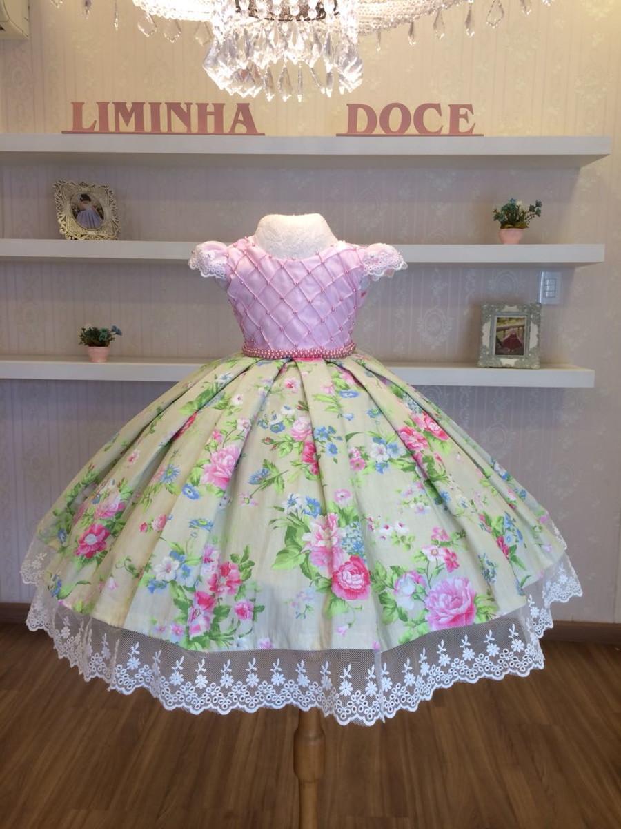 f9e2956c0 Vestido Festa Floral Com Rosa-Infantil no Elo7   Liminha Doce - Moda ...