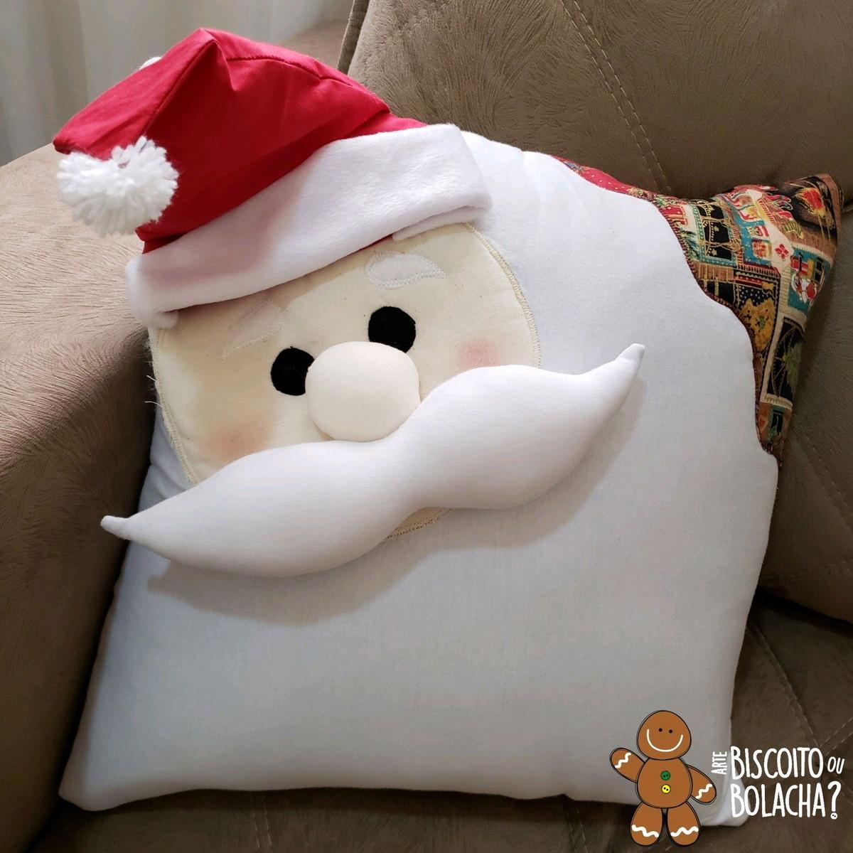 8dc25a98c0e8f8 Capa Almofada Natalina - Papai Noel 3D em algodão