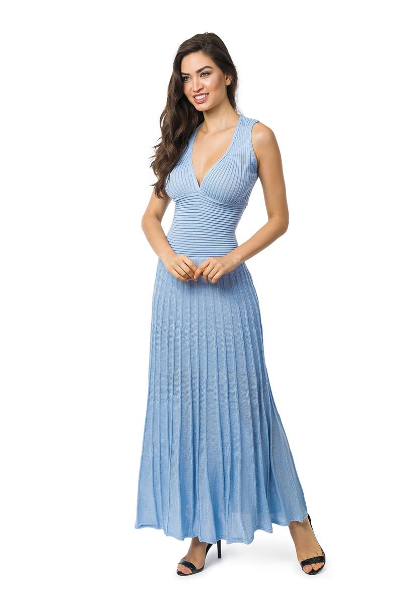 ca04c319e Vestido Longo Tricot Plissado Com Lurex Liso Azul Claro 5067 no Elo7 ...