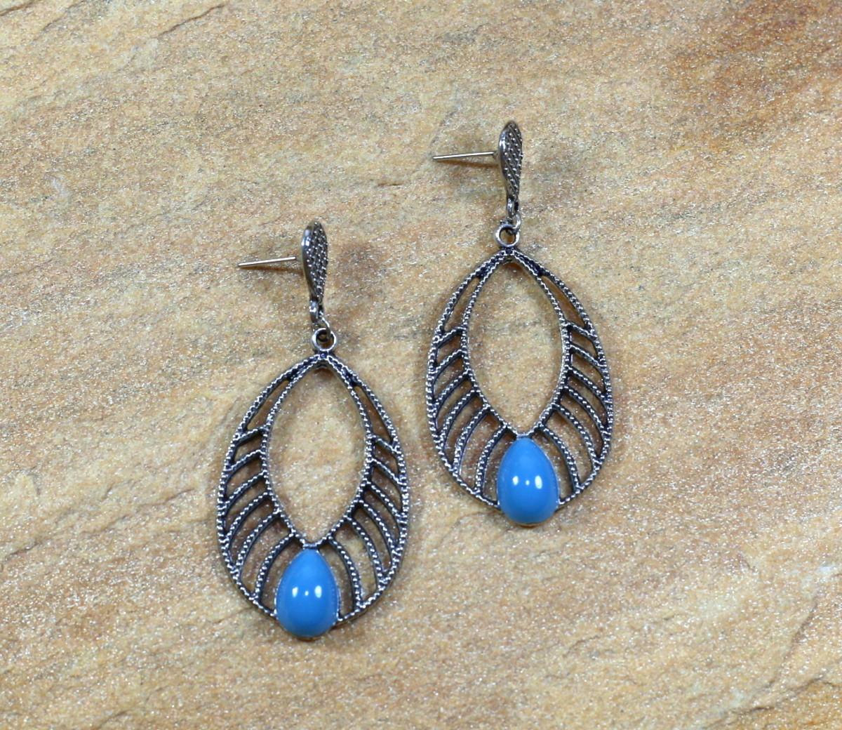 Brinco azul gota boho chic prateado bijuterias no Elo7  ffa00ed39cf
