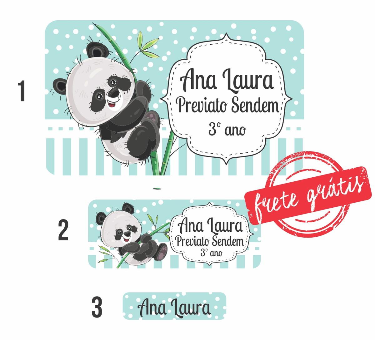 5e5db472baa 90 Etiquetas Escolares Panda - frete grátis no Elo7   Noisquifais ...