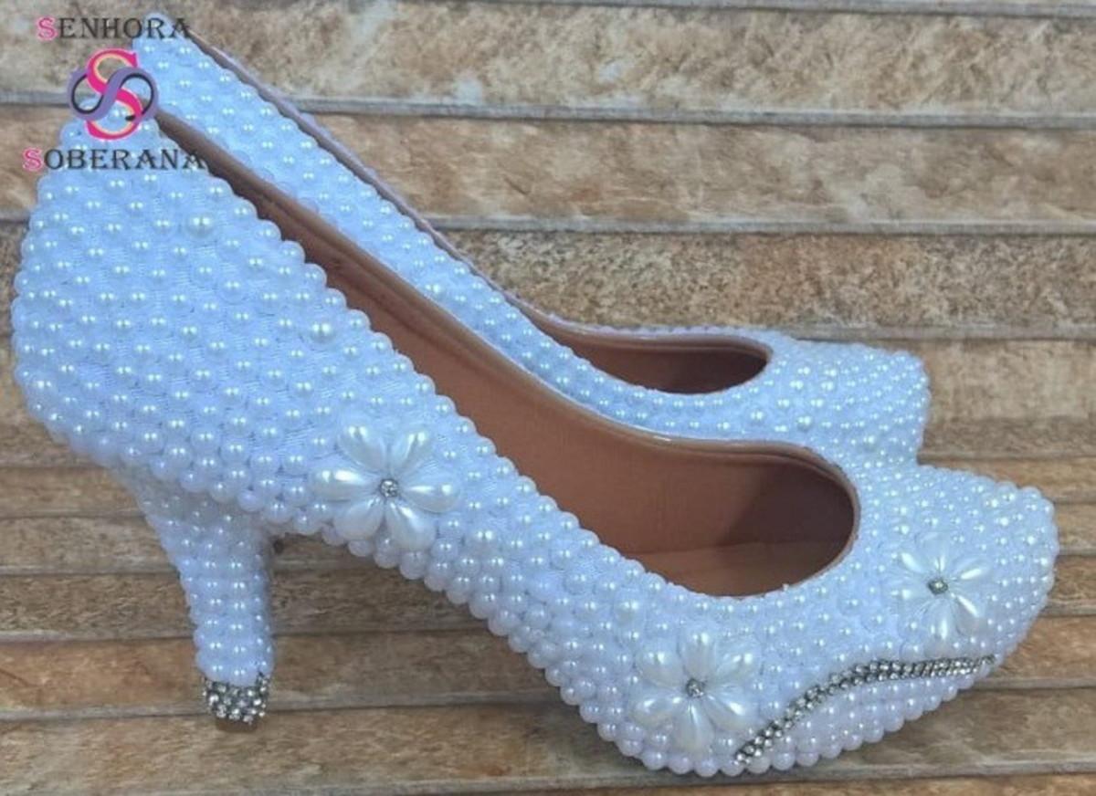 2cd0281760 Sapato Meia Pata branco com perolas e Strass prateado luxo no Elo7 ...