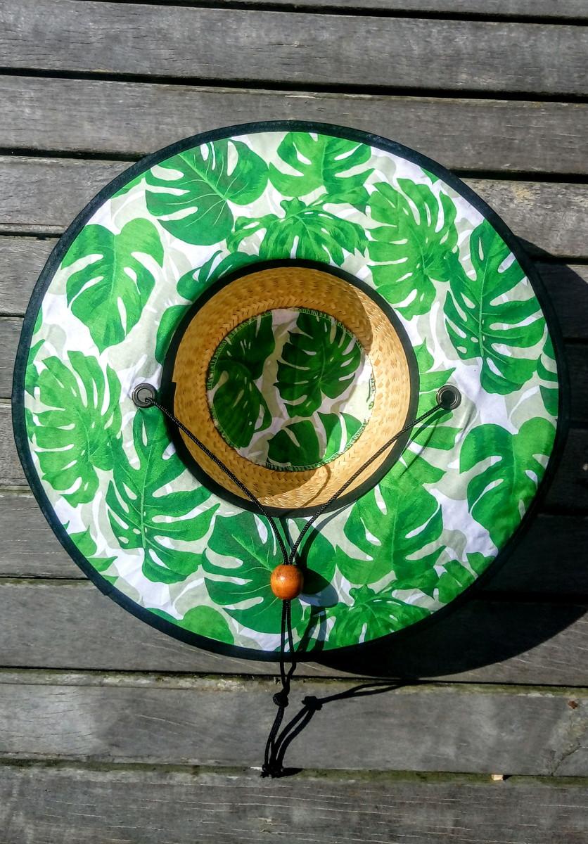 Chapéu de palha surf palmeira estampada no Elo7  1ce6302e7fa