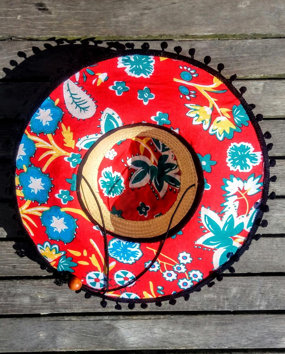 be498f5a1caa5 Chapéu de palha surf flowers estampado no Elo7